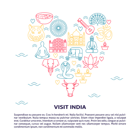 India concept banner in thin line style with place for text