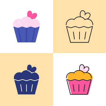 Birthday cake with heart icon set in flat and line styles. Food symbols collection. Vector sign. Illustration