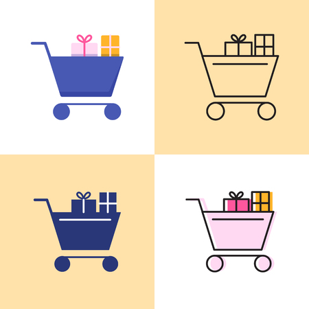 Shopping cart with presents icon set in flat and line styles. Holiday gifts shopping symbol. Vector illustration. Illustration