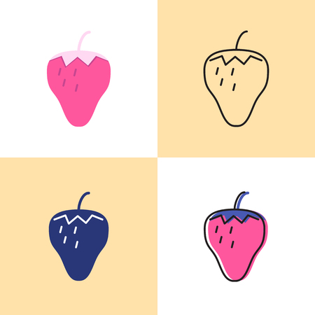 Strawberry icon set in flat and line styles. Berry food symbol. Vector illustration.
