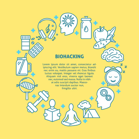 Biohacking round concept banner with icons in line style. DIY biology theme poster with place for text. Vector illustration.