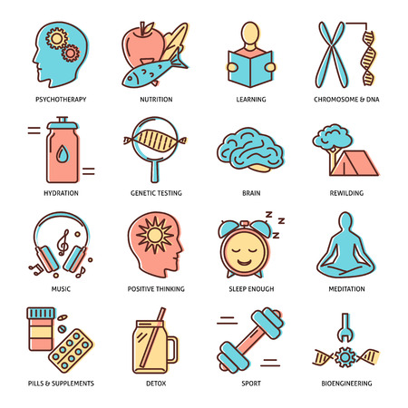 Biohacking icons set in colored line style. Health improvement concept symbols. Vector illustration.