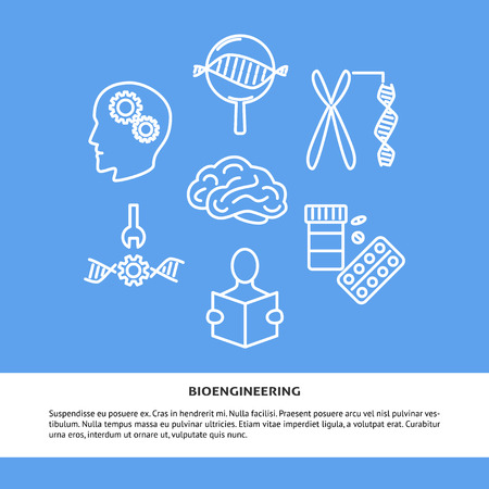 Bioengineering concept banner with icons in line style. DIY biology theme poster with place for text. Vector illustration.