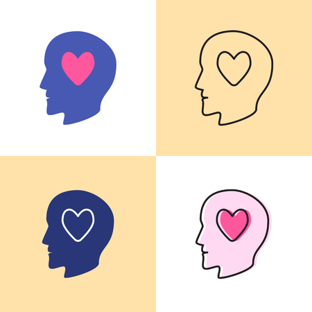 Human head with heart icon set in flat and line styles. Man in love symbol. Vector illustration.
