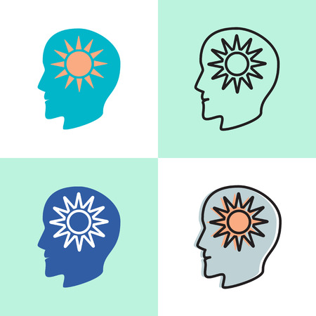 Think positive concept icon set in flat and line style
