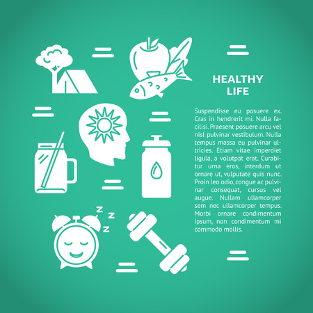 Healthy lifestyle concept banner template in flat style