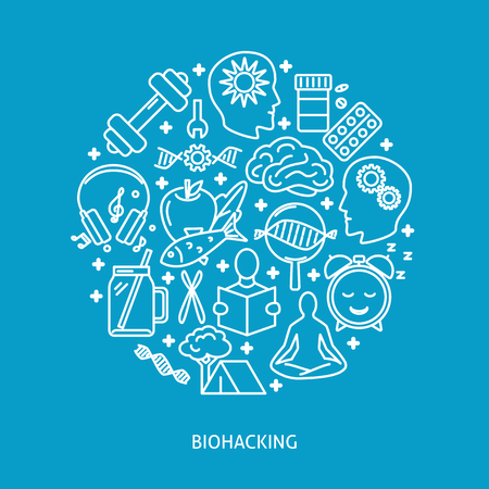 Biohacking round concept banner with icons in line style. DIY biology theme poster. Vector illustration.