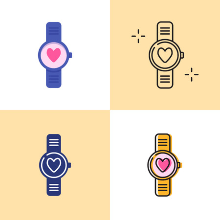 Smart watch with heart icon set in flat and line styles. Pulsometer with a heartbeat symbol. Vector illustration. Illustration