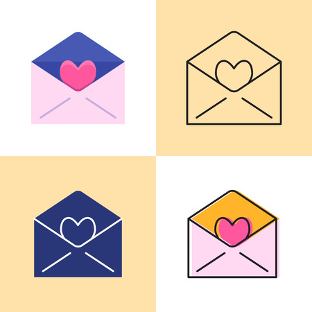 Mail with love icon set in flat and line styles. Envelope with heart symbol. Vector illustration. Illustration