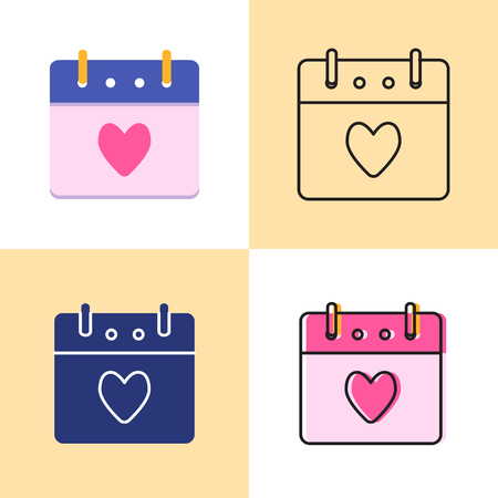 Valentines day calendar icon set in flat and line styles. Calendar page with heart symbol for romantic event. Vector illustration.