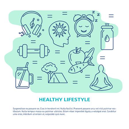 Banner de concepto de estilo de vida saludable en estilo de línea Ilustración de vector