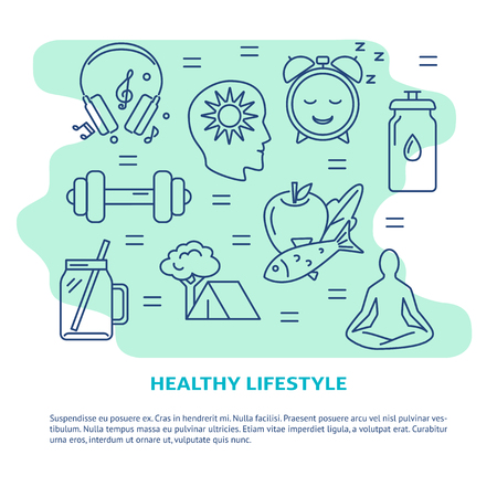 Healthy lifestyle concept banner in line style