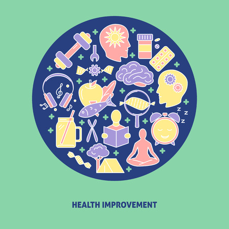 Health improvement round concept banner with icons in colored line style. DIY biology theme poster. Vector illustration. Illustration