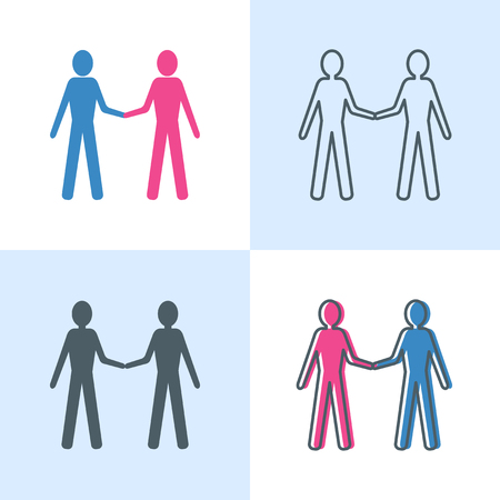 Communication icon set in flat and line styles. Social interaction concept symbol with two human figure silhouettes. Friendship, cooperation. Vector illustration.