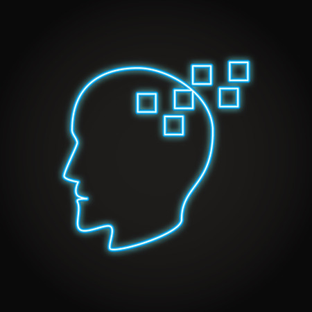 Memory loss concept icon in neon style. Neurological problems symbol with human profile. Vector illustration.