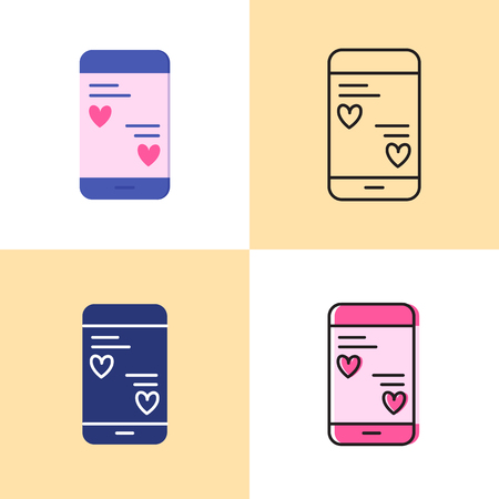 Smartphone mobile with love messages icon set in flat and line styles. Phone chat with heart symbols. Romantic contacts sign. Vector illustration.