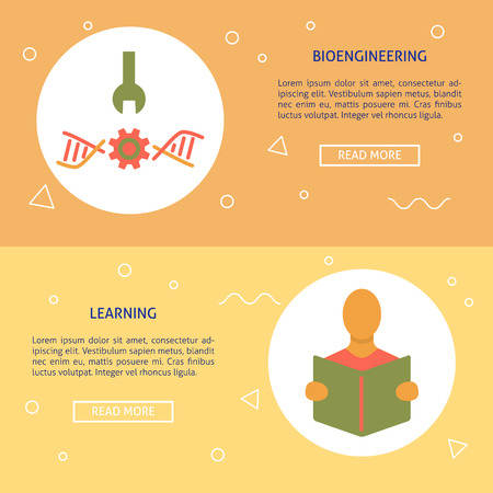 Biohacking and learning concept flyer templates in flat style with place for text. Vector illustration.