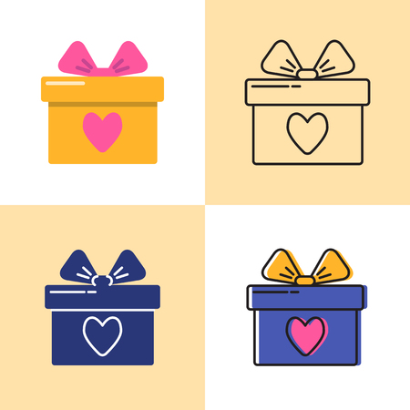 Gift box icon set in flat and line styles. Present box with bow and heart symbol. Vector illustration.