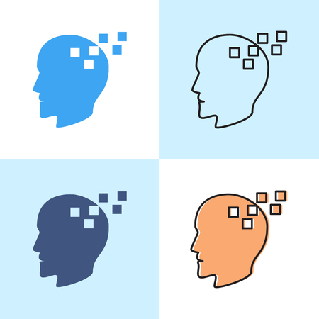 Memory loss concept icon set in flat and line styles. Neurological problems symbol with human profile. Vector illustration.