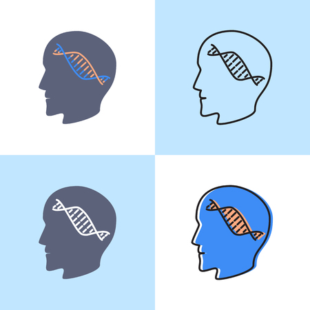 Genetic testing concept icon set in line and flat styles