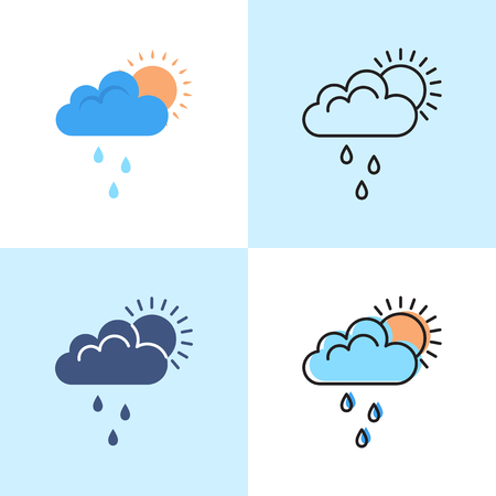 Sun behind cloud with rain icon set in flat and line styles. Weather or mood symbol. Vector illustration.