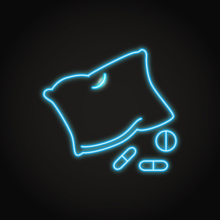 Insomnia concept icon in neon line style. Pillow and drugs symbol. Vector illustration.