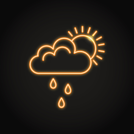 Sun behind cloud with rain neon icon. Shining weather or mood symbol. Vector illustration.