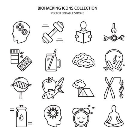 Biohacking icons set in line style. Health improvement concept symbols. Vector illustration with editable stroke.