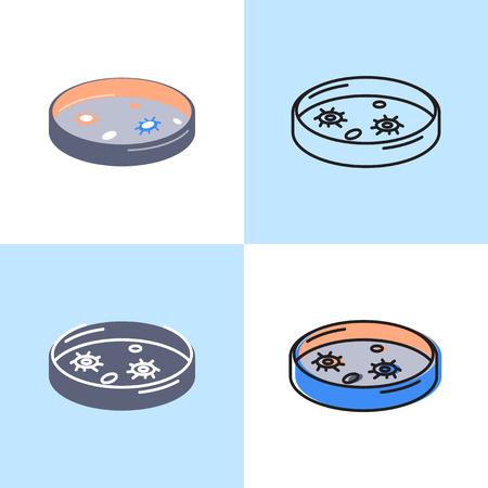 Icono de placa de Petri en estilo plano y de línea. Símbolo de equipo de laboratorio científico. Ilustración vectorial.