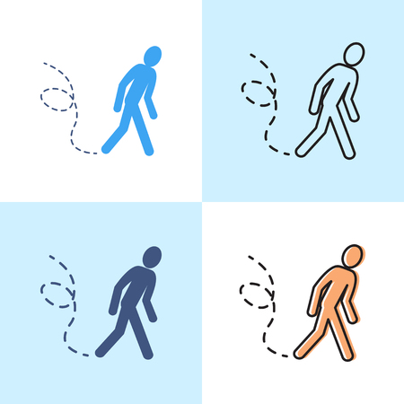 Wandering man icon set in flat and line style. Walking human symbol. Vector illustration. Illustration