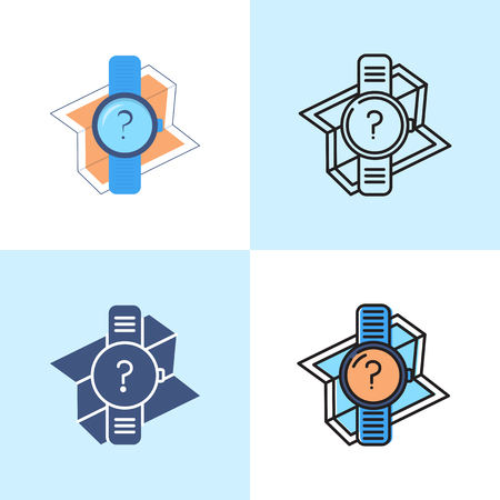 GPS watch icon set in flat and line style. Place location symbol. Vector illustration.
