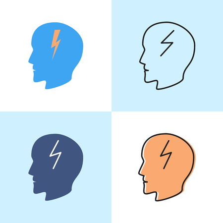 Headache icon set in flat and line styles. Anger and irritation negative emotion concept symbol. Neurological problems sign, medical vector illustration.