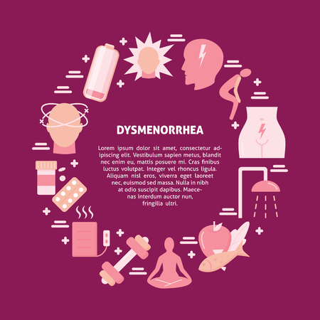 Menstruation pain round concept banner in flat style. Dysmenorrhea symptoms and treatment symbols set. Medical vector illustration.