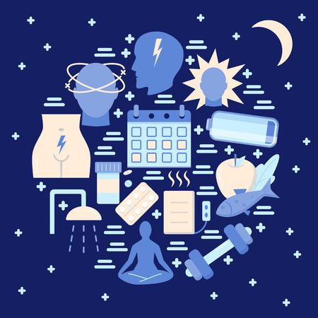 Menstruation round concept banner in flat style. Menstrual period symptoms and treatment symbols set. Medical vector illustration. Illustration