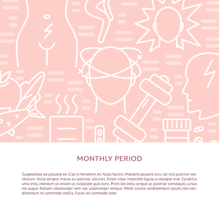 Monthly period symptoms and treatment banner template in line style. Menstruation pain concept background with text. Medical vector illustration. Illusztráció