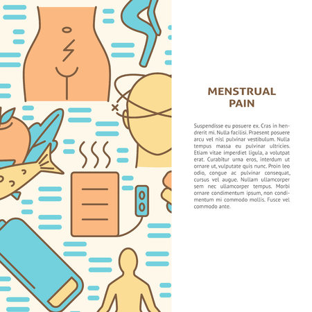 Menstrual pain symptoms and treatment banner template in line style. Menstruation concept background with text. Medical vector illustration.