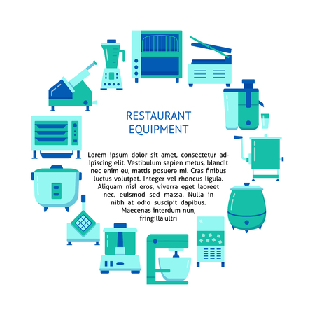 Restaurant equipment concept banner in flat style. Kitchen appliances round poster template with place for text. Vector illustration.