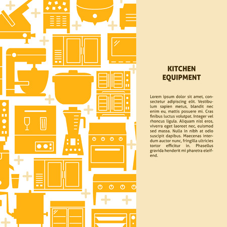 Professional kitchen equipment concept banner in flat style. Restaurant appliances poster template with place for text. Vector illustration.