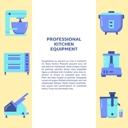 Professional kitchen equipment banner template in flat style with place for text. Commercial cooking appliances symbols. Vector illustration.