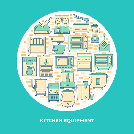 Restaurant equipment round concept banner in line style. Professional kitchen equipment poster template with text. Vector illustration. Ilustração