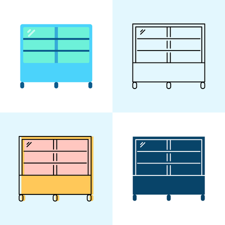 Refrigerated display case icon set in flat and line styles. Professional restaurant equipment symbols. Vector illustration. Ilustração