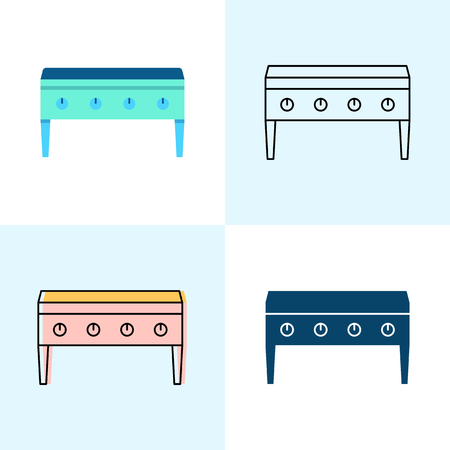 Flat top grill icon set in flat and line styles. Professional restaurant equipment symbols. Vector illustration. Illustration