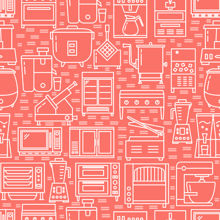 Commercial kitchen equipment seamless pattern in line style. Restaurant or cafe appliances wallpaper. Vector illustration.