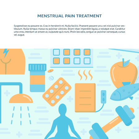 Menstrual pain treatment banner template in flat style. Menstruation concept background with place for text. Medical vector illustration. Stock Vector - 122819230