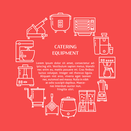 Catering equipment round concept banner in line style. Restaurant or cafe equipment poster template with place for text. Vector illustration.