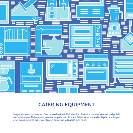 Professional cooking equipment concept background in colored line style. Restaurant kitchen appliances poster template with place for text. Vector illustration. Stock Illustratie