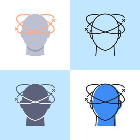 Dizziness icon set in flat and line styles. Vertigo concept symbol. Medical vector illustration.
