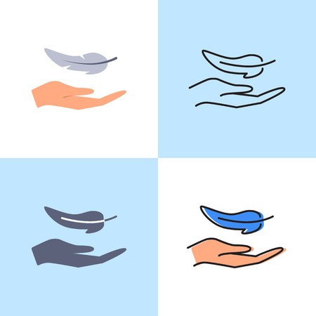 Hand and feather icon set in flat and line styles