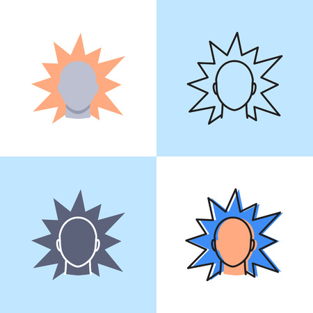 Irritation concept icon set in flat and line style