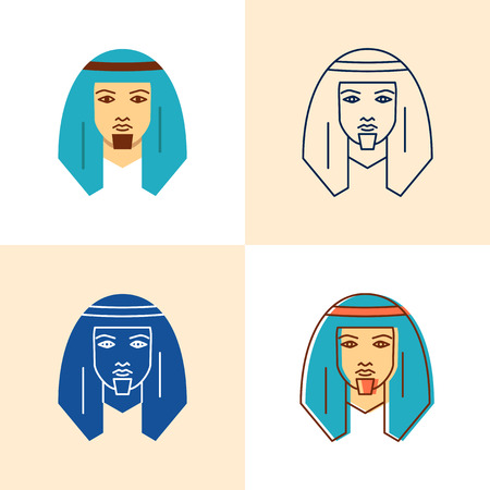 Bedouin man icon set in flat and line style 일러스트